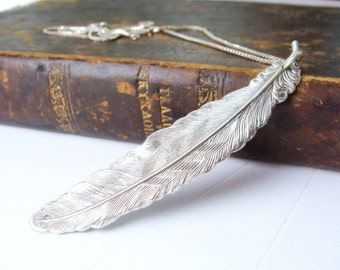 Big Silver Feather necklace - Metalwork Native American Jewelry - Angel Sterling Silver Necklace - Feather Necklace Sterling Silver