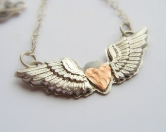 Valentine Winged Heart sterling silver necklace - Metalwork silver wings and cooper heart - Valentine necklace