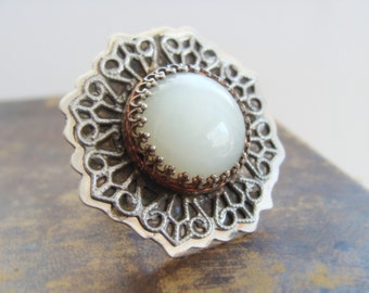 Big Moonstone Sterling Silver Ring - Moonstone Metalwork Cocktail Ring - Moon and Lace Sterling Silver Ring