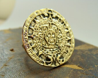 Mayan Calendar ring - mayan disk of Sun brass and silver - 2012 jewelry