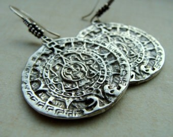 Mayan Calendar disk of Sun sterling silver - Mayan Earrings Sterling Silver - Mayan Sun Disk Calendar Silver Jewelry - Mayan Jewelry