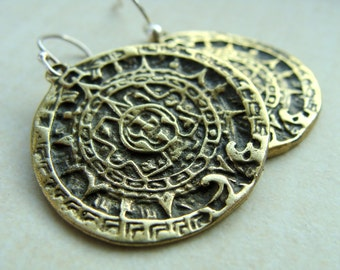 Mayan Calendar Earrings - Mayan jewelry disk of Sun - Brass metalwork round earrings