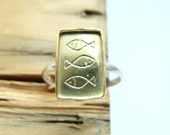 Fishes silver stack ring - Christian Fish Symbol Ring, Jesus Ichthus Fish Ring, Sterling Silver Adjustable Ring
