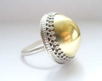 High Dome ring - Sterling silver and brass cabochon