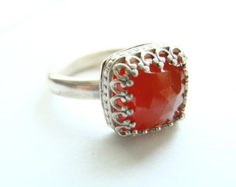 Silver square ring Carnelian big square cut - Faceted Carnelian sterling silver cushion - square shape stacking bezel set ring