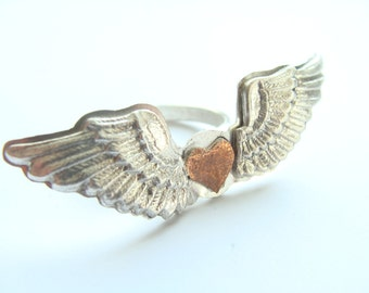 Winged heart ring sterling silver - Cupid ring Sterling Silver - Valentine day ring - Metalwork Angel Wings Ring - Angel Ring 925