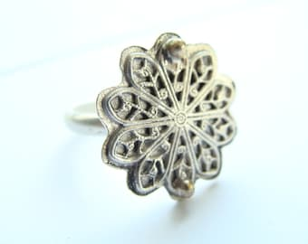 Star ring Sterling Silver - Lace Ring Sterling Silver - Metalwork sterling silver star ring - Christmas star silver jewelry