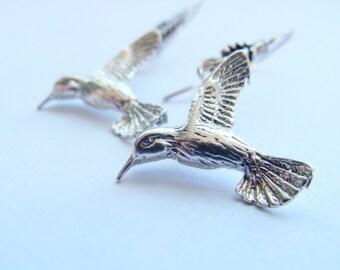 Bird Earrings Sterling Silver - Humming Bird Earrings - Humming Bird Earrings Sterling Silver