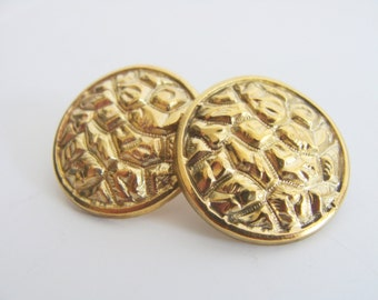 Brass rock studs round - Big metalwork brass repousse with sterling silver