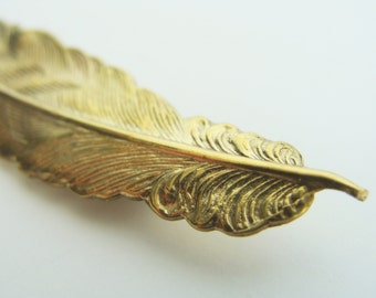 Gold Feather Brooch - Brass with sterling silver pin metalwork