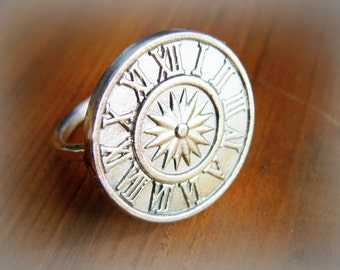 Compass Ring, Sterling Silver Ring, Silver Stacking Ring, Graduation Gift, Compass Rose, time traveller