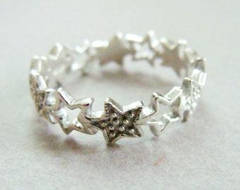 Star ring silver stack ring - metalwork sterling silver stack ring - Sterling Silver Stack Ring - Star Stack Ring Sterling Silver