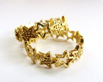 Stack star ring brass metalwork - metalwork stackable rings - Gold Star Stack ring - Gift Ideas for Her, Friend, Bridesmaids