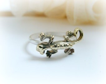 Reptile Stacking Ring - Sterling Silver Lizzard ring - Baby Dragon Ring Sterling Silver - Lizzard ring Brass and Sterling Silver