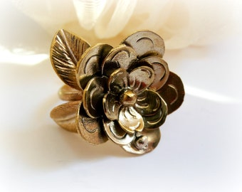 Flower Ring - Flower Metalwork Adjustable ring - Gold Flower RIng - Metalwork Flower Ring - Big Handmade Flower Ring