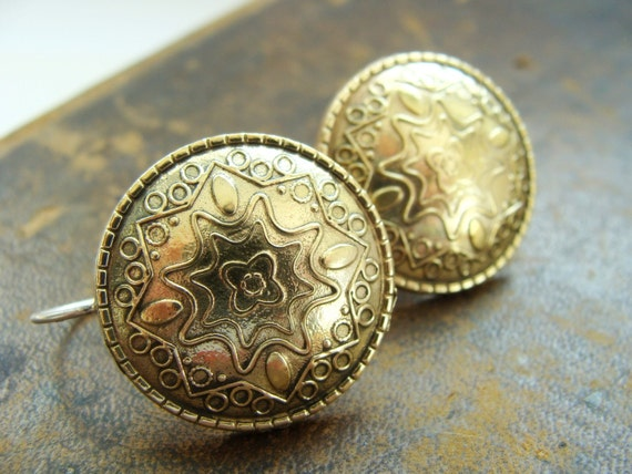 Vintage Brass Button earrings - Brass and sterling silver vintage brass button