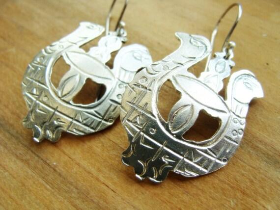 Lyra Bird sterling silver earrings - metalwork earrings - Sterling Silver Bird Pendant . Gift Ideas for Naturalists - Boheme Sterling Silver