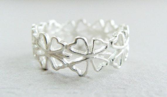 Clover ring shamrock sterling silver - 3D sterling silver ring - Clover Sterling Silver Ring - Clover Stack Ring Sterling Silver
