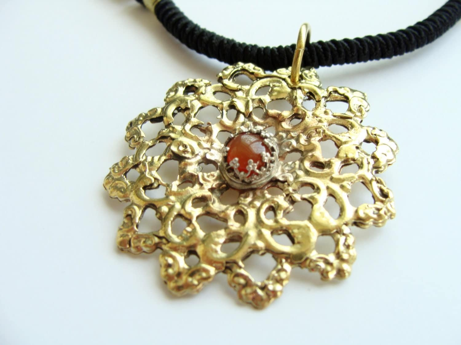 Big Flower necklace Filifree Brass Necklace with silver