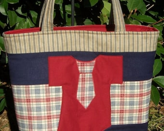 Boys red and blue plaid Tie Onesie Diaper Bag