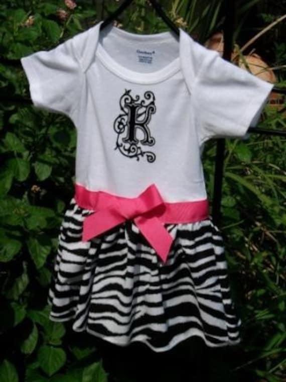 Girls' Zebra Print Skirted Onesie