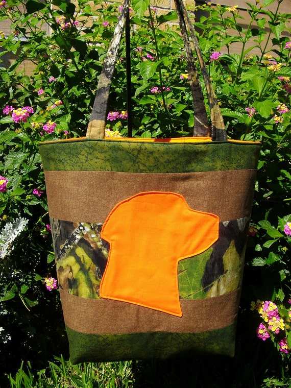 Camo Diaper Bag Tote with Hunter Safety Orange Labrador Retriever Doggie Silhouette and Inner Pockets Perfect Baby Shower Gift for New Mom