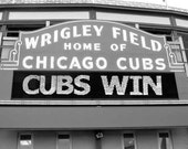 Chicago Cubs Wrigley Field Sign Black and White Photo Home Decor Gift Sports Baseball Icon