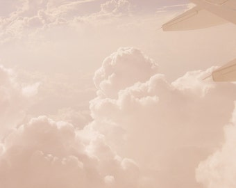 Pink Clouds Color Photo Air Nature Sky Airplane Soft Color Home Decor Gift
