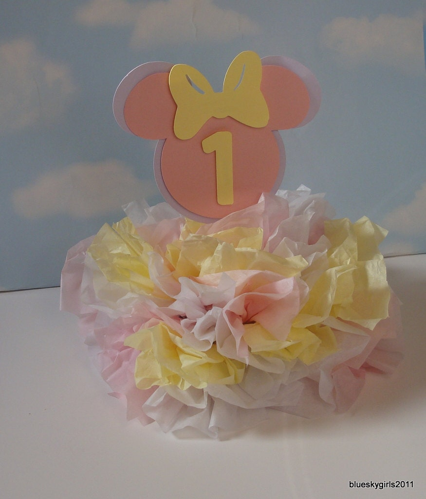 Baby minnie mouse centerpiece decoration kit by catchmybluesky for Baby birthday decoration