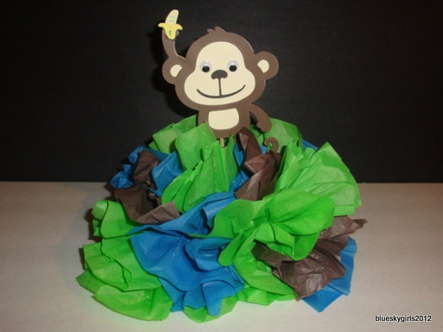 monkey centerpiece decoration monkey baby by catchmybluesky