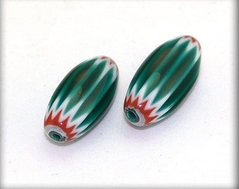 Pair of Early Seymour Green  Chevron Beads