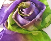 Silk Scarf - African Violet - Hand Painted Ladies Scarves Purple Violet Green Olive Chartreuse