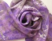 Silk Scarf - Mood - Hand Painted Ladies Scarves Purple Violet Lavender Gray White Tie Dyed