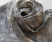 Silk Scarf - Fog - Hand Painted Ladies Scarves Gray White Pewter Black Neutral Tie Dyed