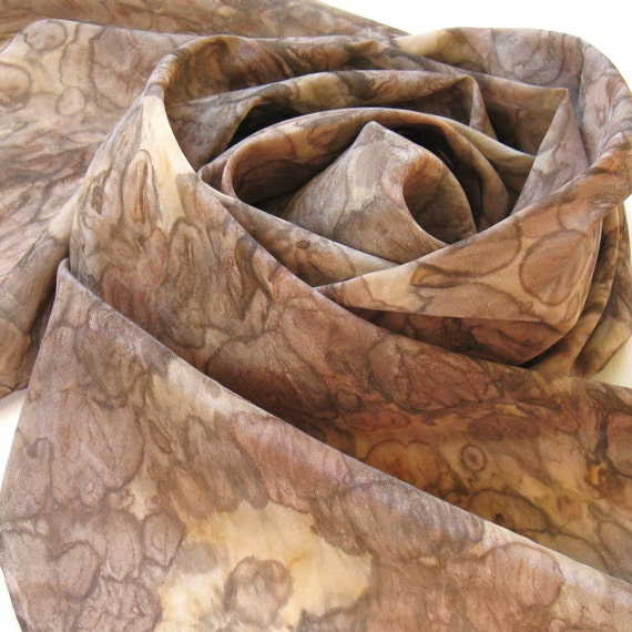Silk Scarf - Mocha - Hand Painted Ladies Scarves Brown Tan Coffee Chocolate Tie Dyed