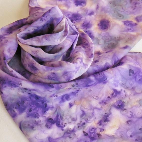 Silk Scarf - Lilacs - Hand Painted Ladies Scarves Purple Violet Lavender Lilac