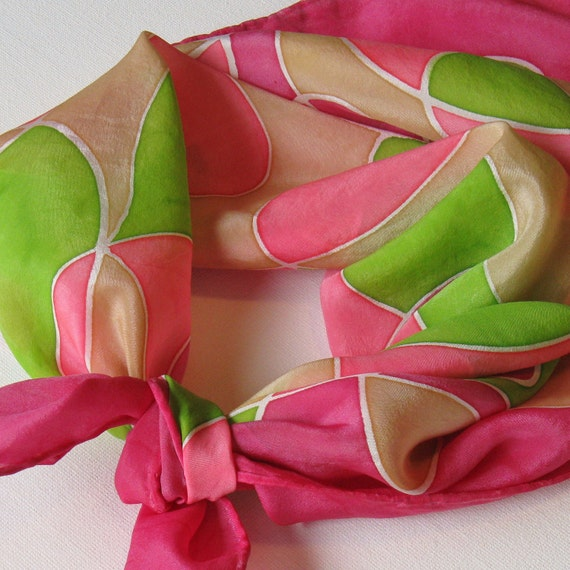 Silk Square Scarf - Chaos - Hand Painted Ladies Scarves Bandana Pink Green Chartreuse Fuchsia