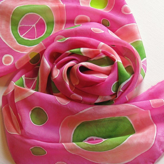 Silk Scarf - Peace - Hand Painted Ladies Scarves Hot Pink Green Magenta Lime Chartreuse