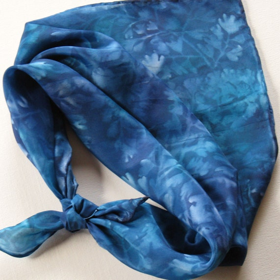 Silk Square Scarf - Reflections - Hand Painted Ladies Scarves Bandana Blue Navy Teal Turquoise Leaves