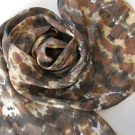 Silk Scarf - Safari - Hand Painted Ladies Scarves Tie Dyed Brown Black Tan Gray White Animal Leopard Neutral