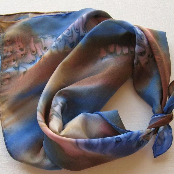 Silk Square Scarf - Coastal - Hand Painted Ladies Scarves Bandana Brown Navy Sapphire Blue Tan Beige