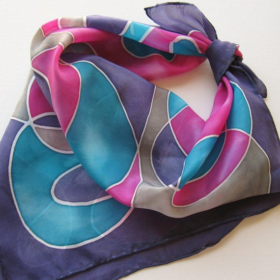 Silk Square Scarf - Disco - Hand Painted Ladies Scarves Bandana Navy Blue Magenta Pink Gray Teal Turquoise