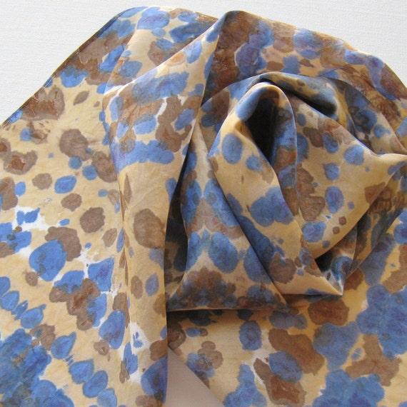 SALE Silk Scarf - Boardwalk - Hand Painted Ladies Scarves Tie Dye Blue Navy Sapphire Brown Tan