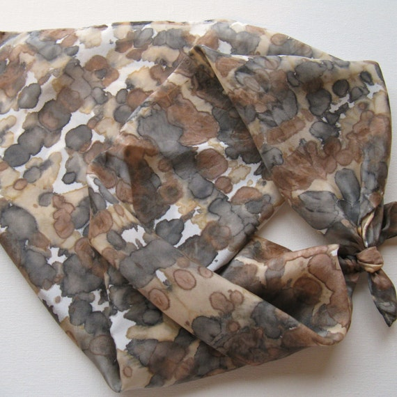 Silk Square Scarf - Wild - Hand Painted Ladies Scarves Bandana Tie Dyed Black Brown Tan Gray Neutral