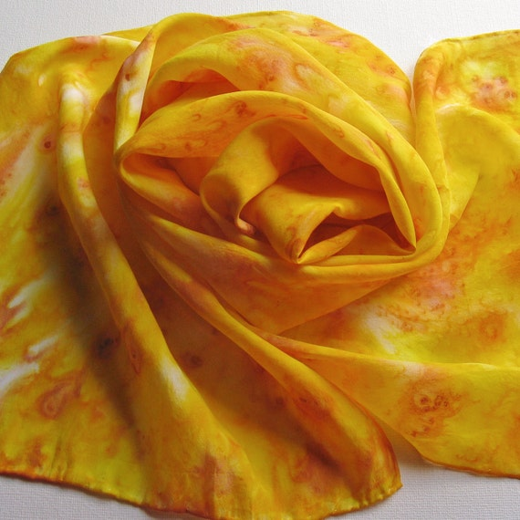 Silk Scarf - Goldenrod - Hand Painted Ladies Scarves Yellow Lemon Sunflower Brown White