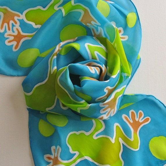 RESERVED Silk Scarf - Frolic - Hand Painted Ladies Scarves Tree Frog Turquoise Teal Blue Chartreuse Lime Green Orange