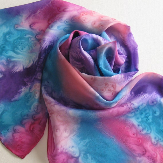 FREE SHIPPING Silk Scarf - Pinwheel - Hand Painted Ladies Scarves Turquoise Blue Purple Violet Magenta Pink Coral Salmon