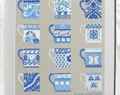 Cross stitch pattern BLUE CUPS -  wall art,embroidery pattern,needlepoint,scandinavian,diy,hand embroidery,Anette Eriksson Design