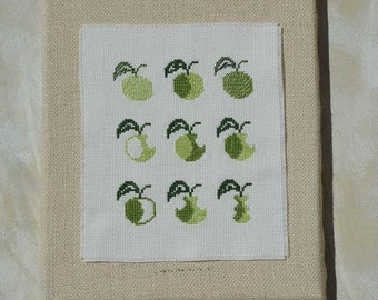 Cross stitch pattern APPLES  embroidery pattern,needlepoint,embroidery patterns,cross stitch,easy cross stitch,swedish,anette eriksson,green