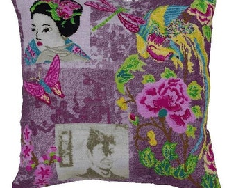 Pillow cover CHINOISE - cushion,purple,pink,boho,bohemian,asian,designer pillow,handmade,diy,cross stitch,needlepoint,anette eriksson,stitch
